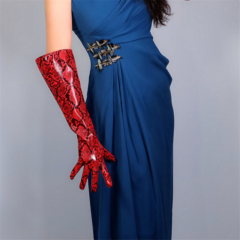 2020 NEW Snakeskin Long Gloves 50cm Patent Leather Bright Leather Animal Print Python Red Wide Cuff Female Gloves WPU175