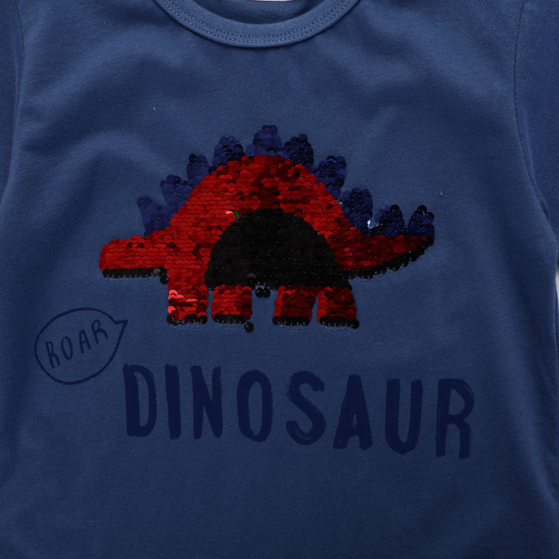 SAILEROAD Boys t-shirts Green Dinosaur Face-changing Red Dinosaur Paillettes Shirts for Kids Clothes Sequins T Shirts Children 3