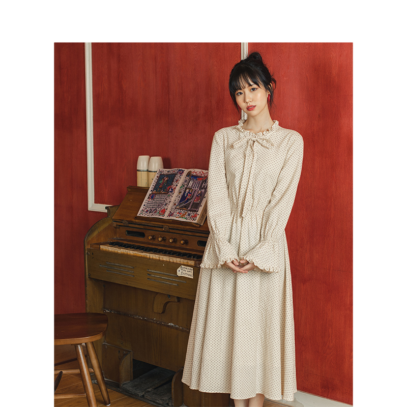 INMAN Spring Autumn Retro Young Girl Literary 100%Cotton Wave Point Women Dress