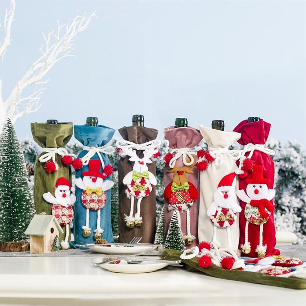Christmas Wine Bottle Covers Bag Santa Clause Snowman Linen Champagne Bottle Covers Christmas Party Home Decor Table