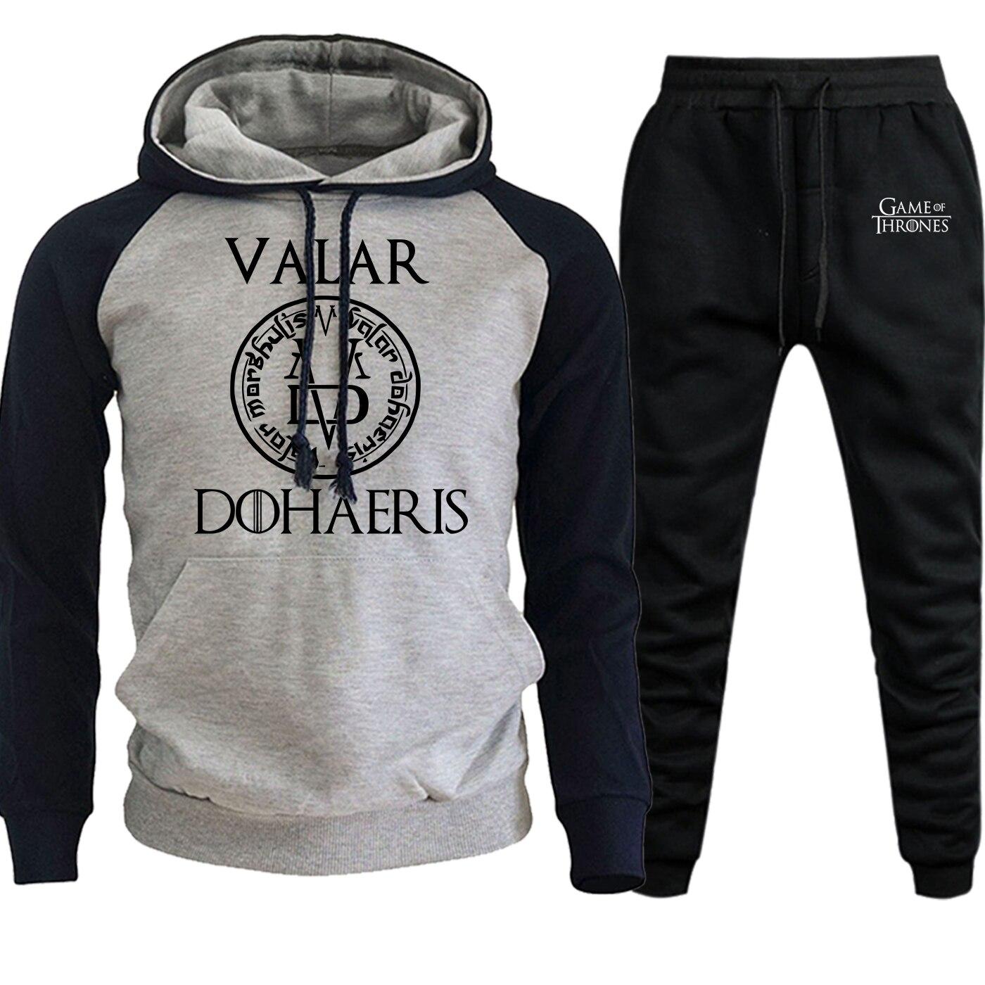 Game Of Thrones Valar Dohaeris Streetwear Men Raglan Hoodie+Pants Sets New Autumn Winter Suit Male Fleece Pullover Hip Hop Hoody