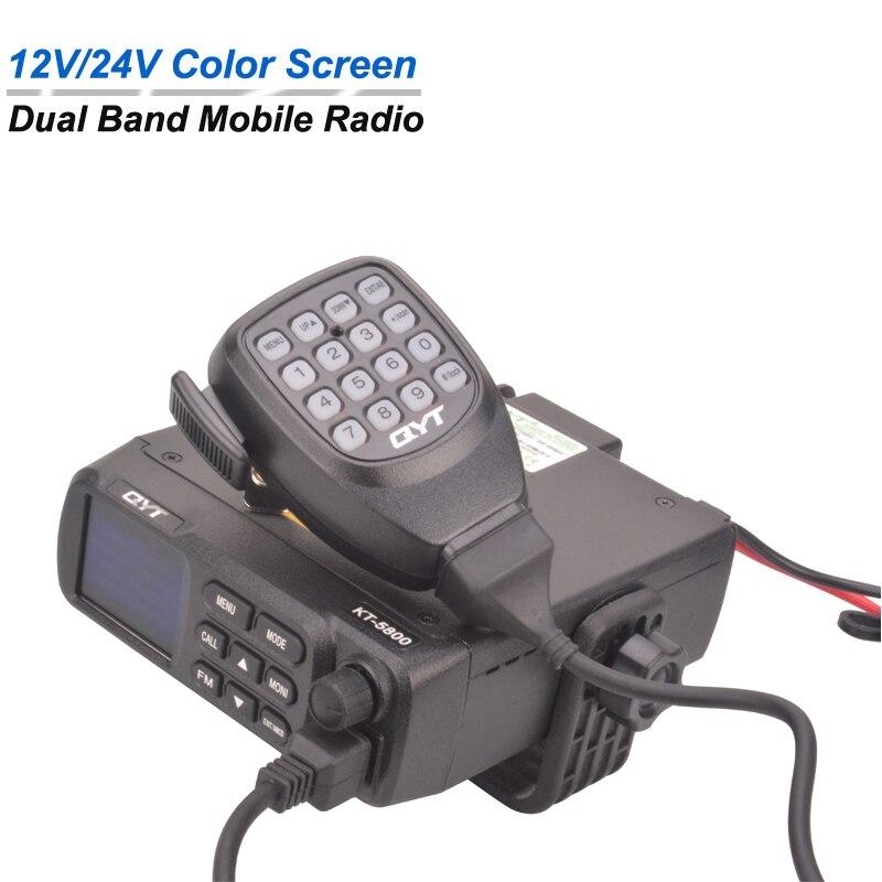 QYT KT-5800 12V/24V Working Voltage Car Mobile Radio Dual Band FM Mobile Transceiver Scrambler Walkie Talkie 20W 200CH