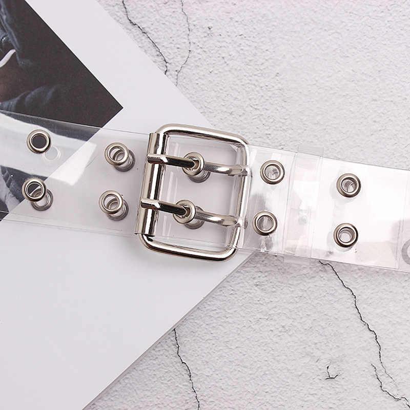 [[Lfmb] Hai Hàng Nhựa PVC Trong Suốt Dây Nữ Thời Trang Khóa Pin Nữ Trắng Quần Lưng Trong Suốt Thắt Lưng Nữ quần Jean Grom