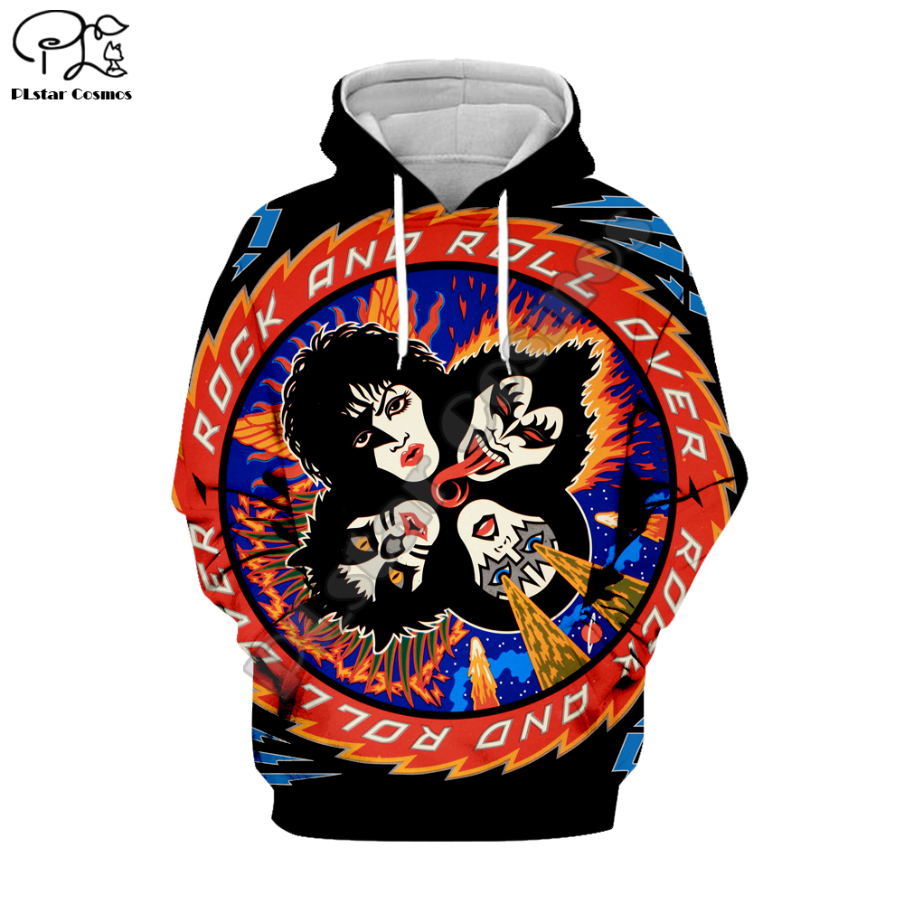 BAND KISS Rock & Roll All Nite Party 3D Hoodie Tee Men Women New Fashion Hooded Sweatshirt Long Sleeve Pullover Style-10
