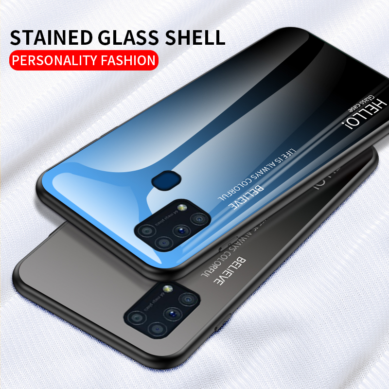 <font><b>Tempered</b></font> <font><b>Glass</b></font> <font><b>Case</b></font> for <font><b>Samsung</b></font> Galaxy M31 S20 Ultra A41 <font><b>A70e</b></font> S10 Lite A51 A71 A81 A91 Note 10 Lite <font><b>Glass</b></font> Shell Phone <font><b>Case</b></font> Cover image