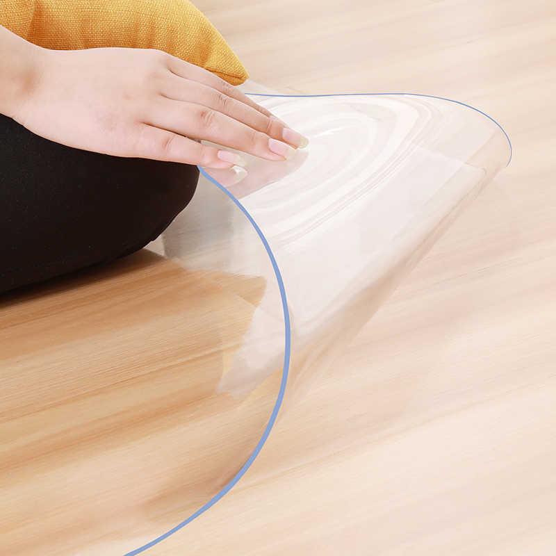 PVC Transparan Tahan Air Yoga Mat Kursi Kantor Meja Kopi Tahan Gores Lembut Kaca Karpet Lantai Kayu M Area Karpet