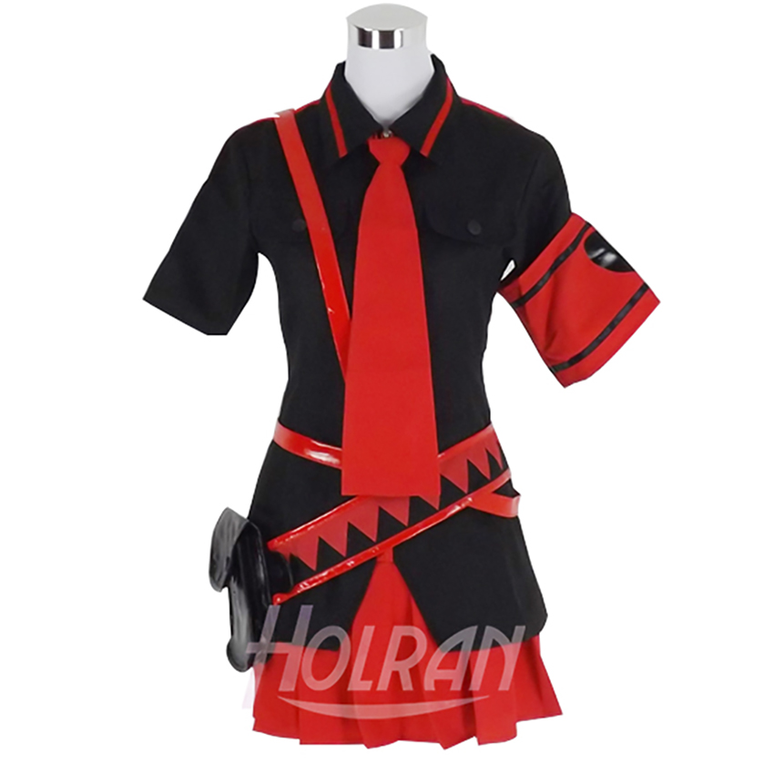 Virtual singer role cosplay costume anime shirt dress belt pocket tie suit uniform Song Costume red dress VOCALOID image