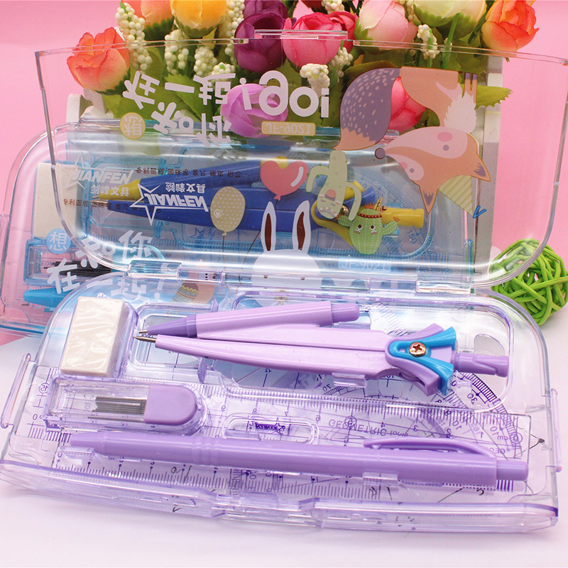 8pcs/Set Childer's Random Cartoon Mathematics Painting Drawing Suit Practical Plastic Compass Ruler Eraser Stationery Set