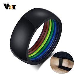 Vnox 8 мм минималистский стиль из нержавеющей стали ЛГБТ Pride кольца для мужчин и женщин радужные полосы внутри купола