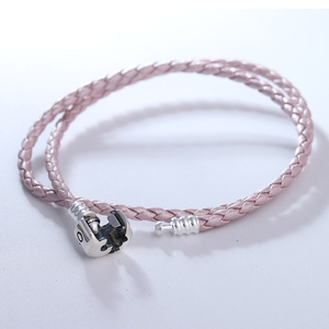 Перламутровый розовый кожаный браслет с серебряной застежкой подходит для стерлингового серебра оригинальные подвески и бусы для женщин С...