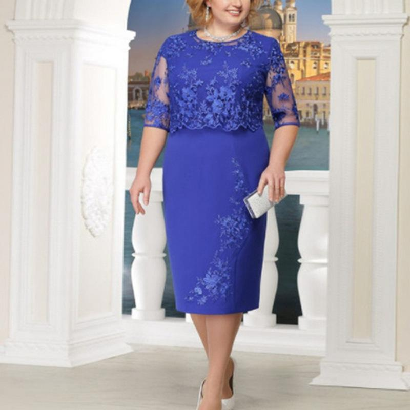 4XL 5XL Large Size Lace Dress Caual Autumn Hollow Out Woman Plus Half Sleeve Knee-length Big Office Dresses