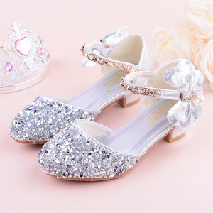 Image 4 - 2019 Girls Bow knot Princess Shoes With High heeled, Kids Glitter Dance Performance Summer Shoes, Purple , Pink & Silver 26 38