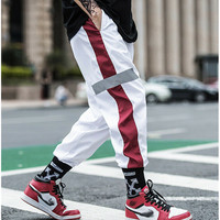Hirigin Side Stripe Track Hip Pop Men's Long Patchwork Reflective Track Pants Joggers Elastic Waist Sweat Pants Trousers