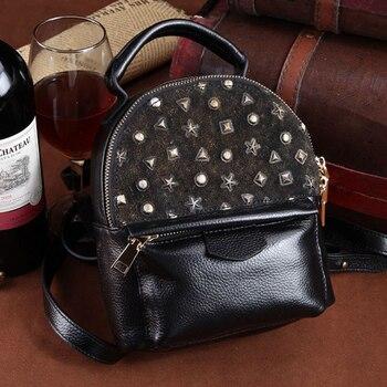 Black New Style Women's Backpack Female Leather Mini Bagpack Mochilas Leisure Small Knapsack Girls Fashion Back Pack for Lady