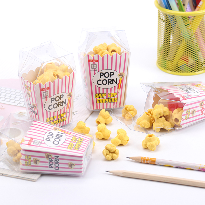 12PCS/Box Kawaii Food Popcorn Erasers Lovely Pencil Eraser For Kids Gift Creative Korean Stationery Novelty Item