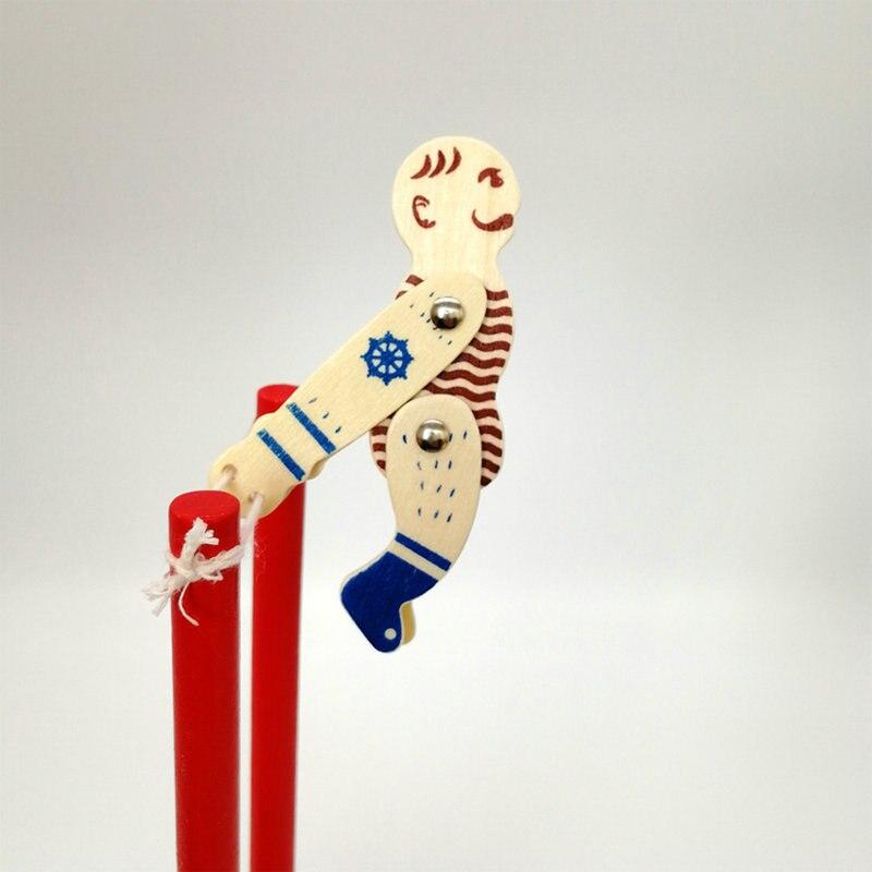 Wooden Acrobatic Dolls Desktop DIY Wood Decompression Horizontal Bar Somersault Figurines Creative Children's Toys Birthday Gift