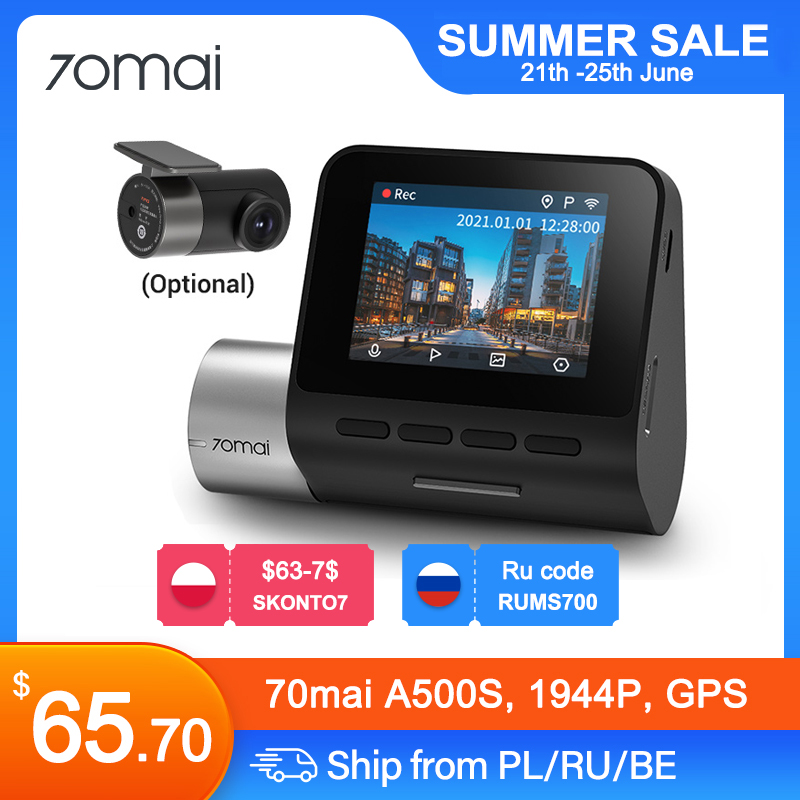70mai-Cámara de salpicadero Pro Plus + A500S con GPS integrado para ADAS,wifi, DVR 1944P para coche, Monitor de aparcamiento, 140 FOV, visión nocturna, frontal y trasera