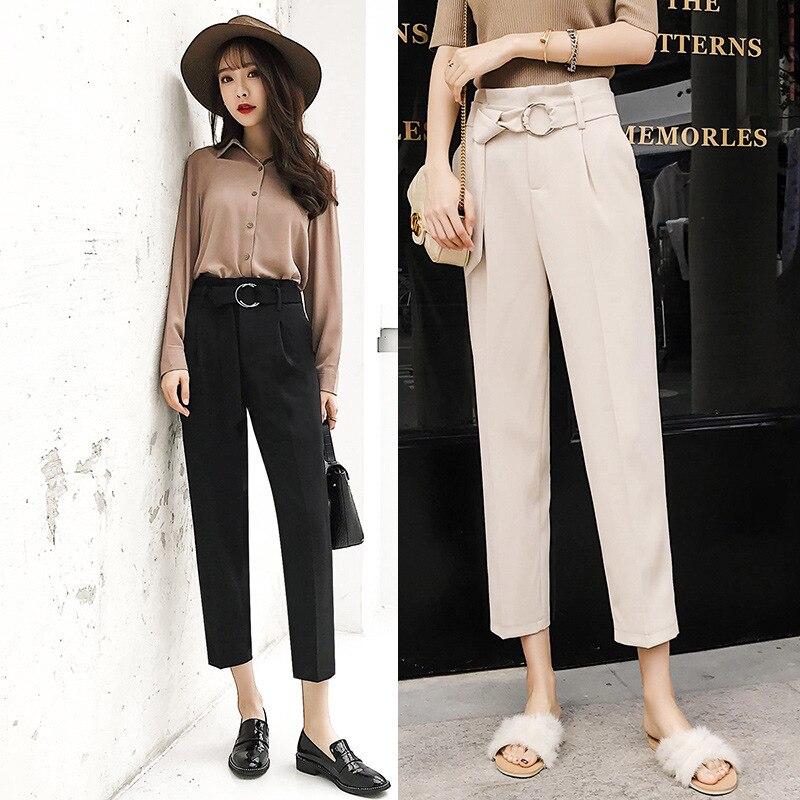 Photo Shoot + Video 2019 Spring Summer High-waisted Harem Pants Capri Pants Suit Pants Slimming Skinny Drainpipe Jeans 319