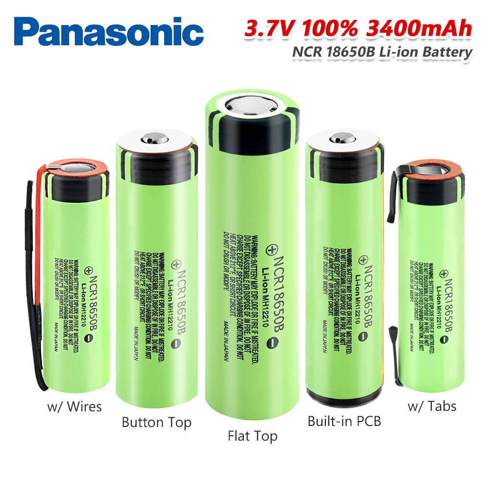 <font><b>Panasonic</b></font> High Drain 20A <font><b>NCR18650B</b></font> Battery 3400mAh Rechargeable batteries with tabs/lines button top/flat power bank flashlight image