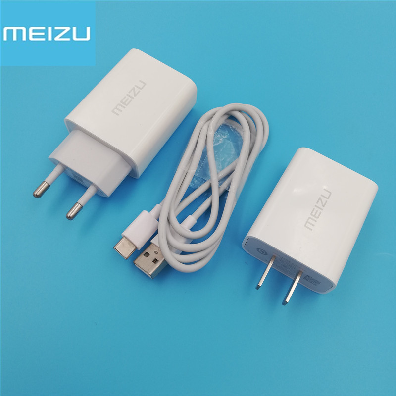 For <font><b>Meizu</b></font> MX6 <font><b>PRO</b></font> 5 6 6S 7 Plus 15 <font><b>16</b></font> M15 M16 M3X E3 QC 2.0 Fast Charge Travel EU US Power Adapter Charger 1M USB Type C Cable image