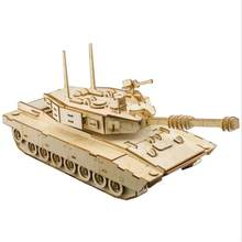 Laser Cutting DIY tanks 3D Wooden model puzzles kids toys handcraft educational games assemble kits Christmas birthday gifts(China)