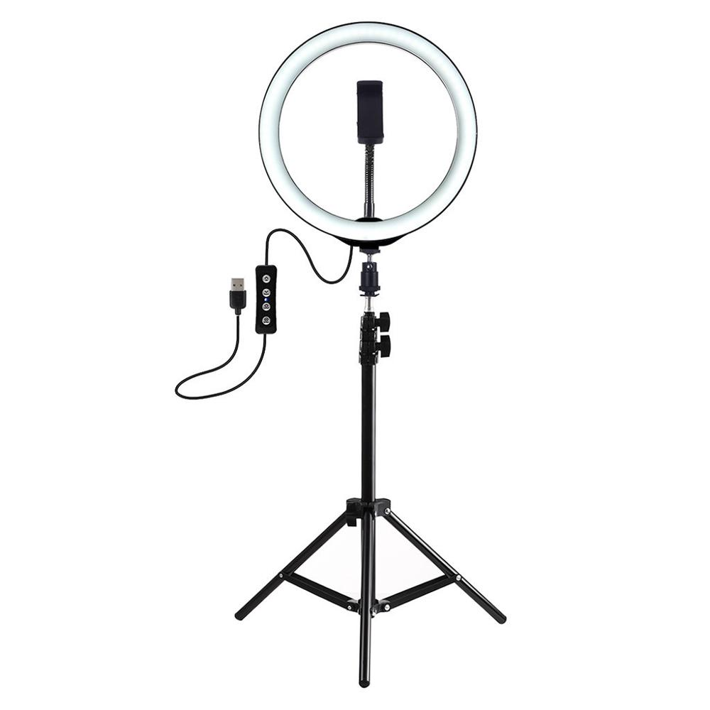 Ring Light 12/26CM With Tripod Stand Cell Phone Holder USB 3 Modes LED Lighting With Tripod Remote Control For Photo Video