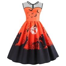 halloween women dress pumpkin print  fall 2018 plus size dresses vintage print sleeveless clothes plus size woman casual plus size halloween cat bat pumpkin print dress