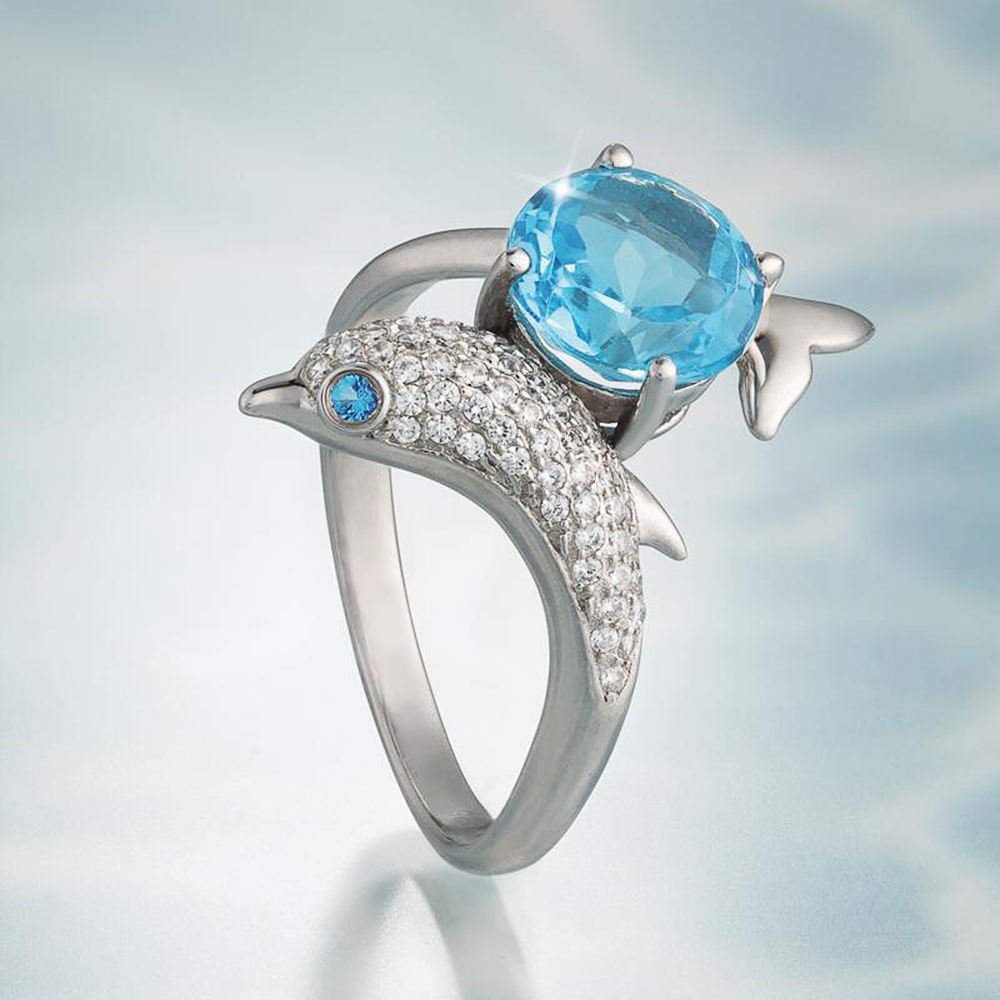 Huitan Romantic Silver Color Dolphin Women Dance Party Finger Ring with Blue Eye Body Full Paved CZ Stone Cute Ocean Animal Ring(China)