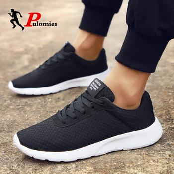 Letnie męskie sportowe trampki obuwie oddychające lekkie siatkowe tenisowe buty do biegania dla mężczyzn buty do chodzenia tanie i dobre opinie PULOMIES Mesh (air mesh) Przypadkowi buty RUBBER Lace-up Pasuje prawda na wymiar weź swój normalny rozmiar Podstawowe