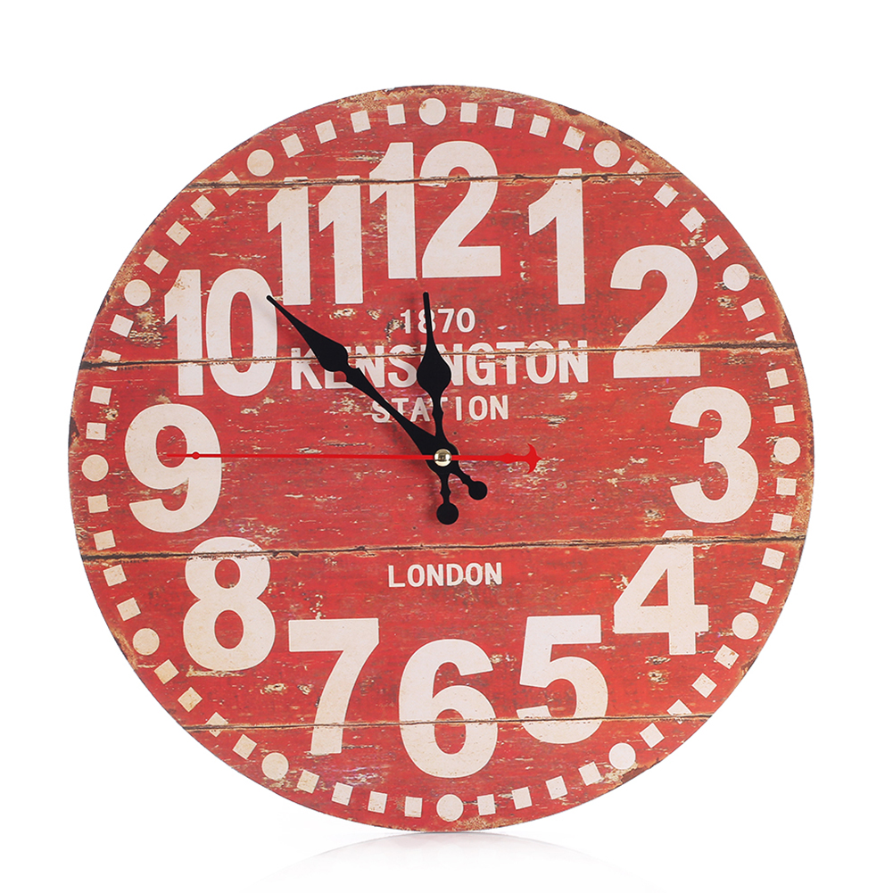 Retro Decorative Wall Clock Creative Wooden Round Red Wall Clock Mute No Ticking Wall Hanging Clock Suitable For Bars, Cafes Col