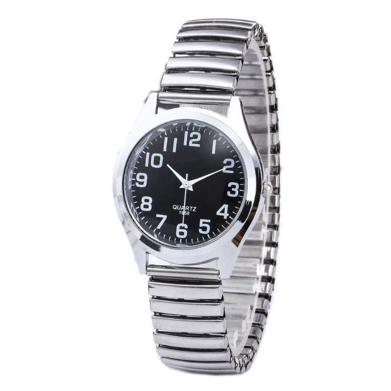 Fashion Business Women Men Elastic Gold Sliver Quartz Black Watch Tide Lovers Couple Party Office OL Bracelet Watches Gift in Quartz Watches from Watches