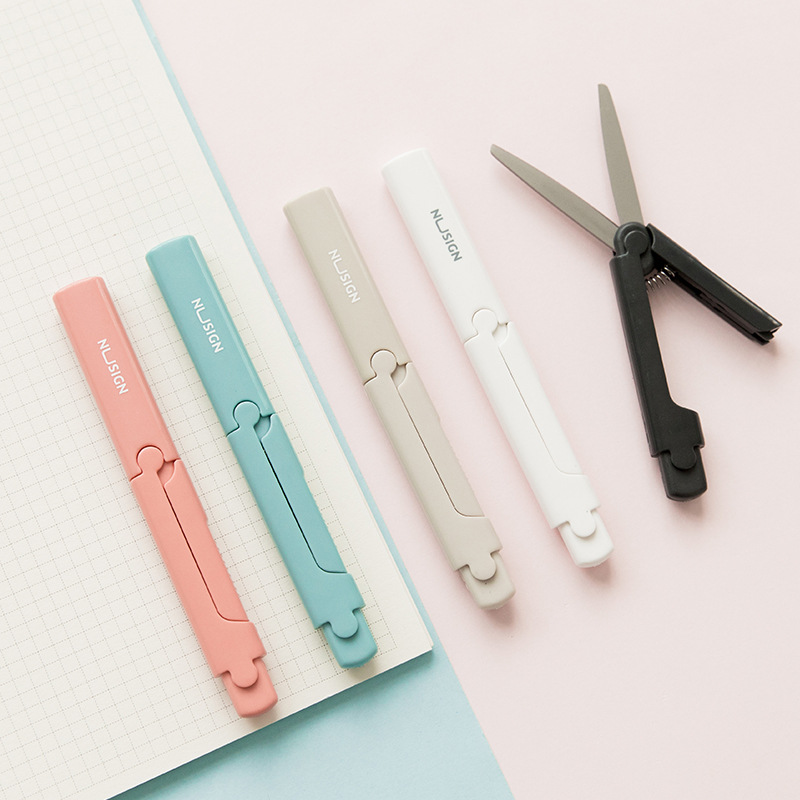 Kawaii Foldable Mini Scissors Creative Solid Color Knife Paper Cutting Stationery Kid Student DIY Hand-cut Tool School Supplies