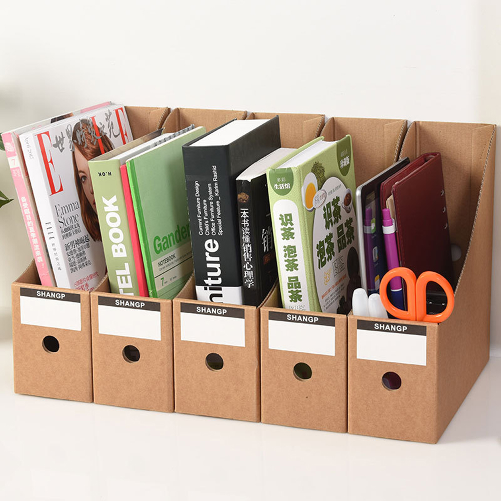 5PCS Stationery Storage Box Paper Magazine Document Rack Desk Organiser School Paperwork Office File Holder Foldable With Labels
