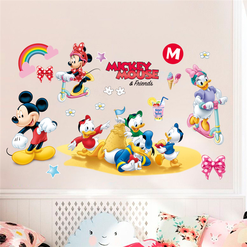 Disney Mickey Minnie Duck Wall Stickers For Kids Baby Rooms Nursery Home Decor Cartoon Wall Decals Pvc Mural Art Diy Posters