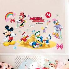 Pegatinas de pared de mickey minnie pato de disney para niños habitación de bebé decoración del hogar pegatinas de pared de dibujos animados arte mural de pvc diy carteles