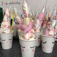 50 Uds. De bolsas de caramelo de cuerno de unicornio celofán transparente bolsas en forma de cono decoraciones para fiesta de cumpleaños niños bebé Paquete de ducha bolsas de regalo