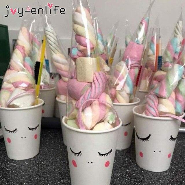 Sacs de bonbons en forme de licorne, sachets de cône transparents en Cellophane, décorations de mariage, anniversaire et fête pour enfants, emballage cadeau, 50pcs