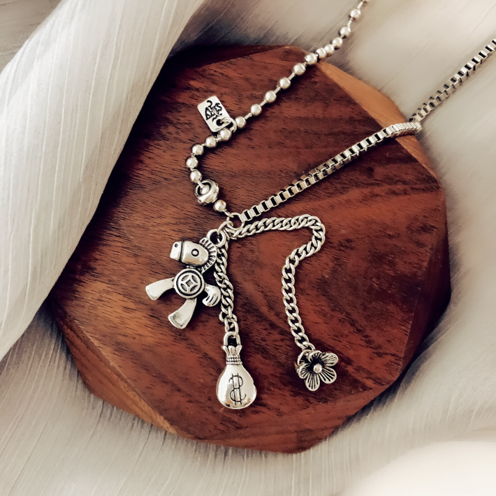 Hcd9524b45d50488cacc7042021e58837Z - AOMU New Pony Pendant Money Bag Flowers Tassel Retro Make Old Hip Hop Sweater Chain Long Necklace for Women Men Jewelry