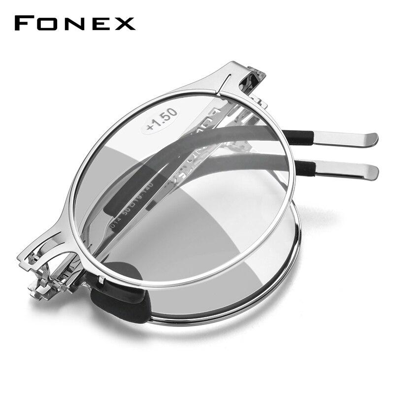FONEX Photochromic Grey Anti Blue Blocking Folding Reading Glasses Men Women 2020 Hyperopia Screwless Foldable Eyeglasses LH014