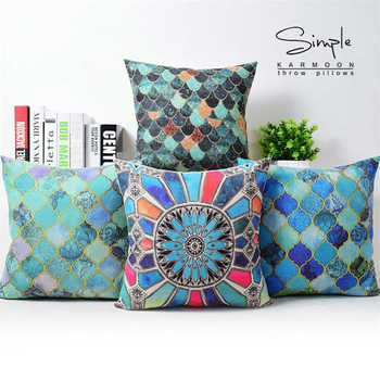 Pillow Geometric 18 Cushion Cover Case Vivid Inspired Scaly Lantern Blue Linen image