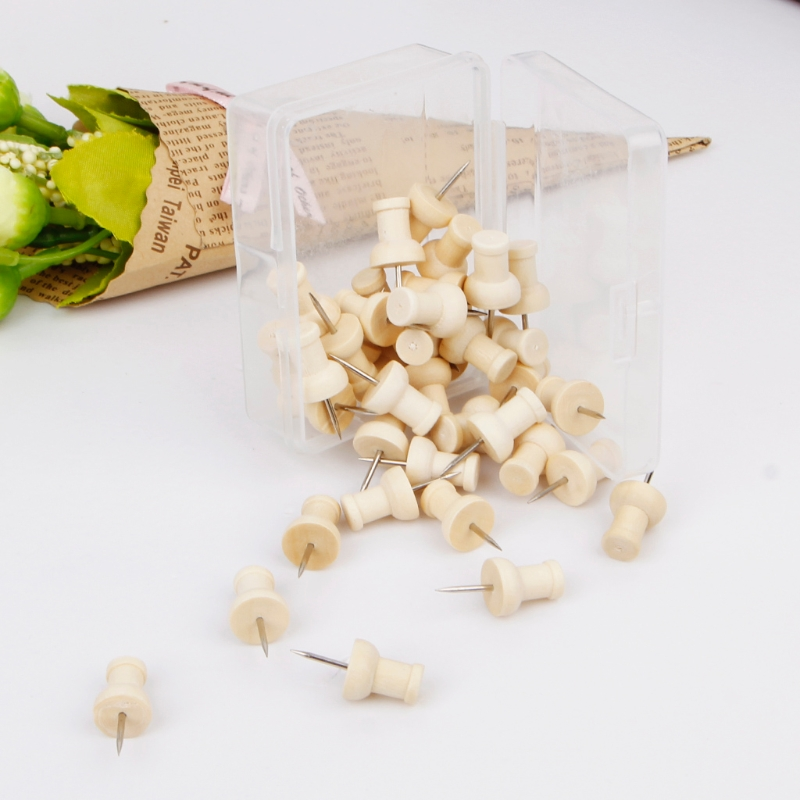40Pcs/set Wooden Thumbtack Creative Push Pins Decorative Drawing Wood Head Pin Office School Binding Supplies