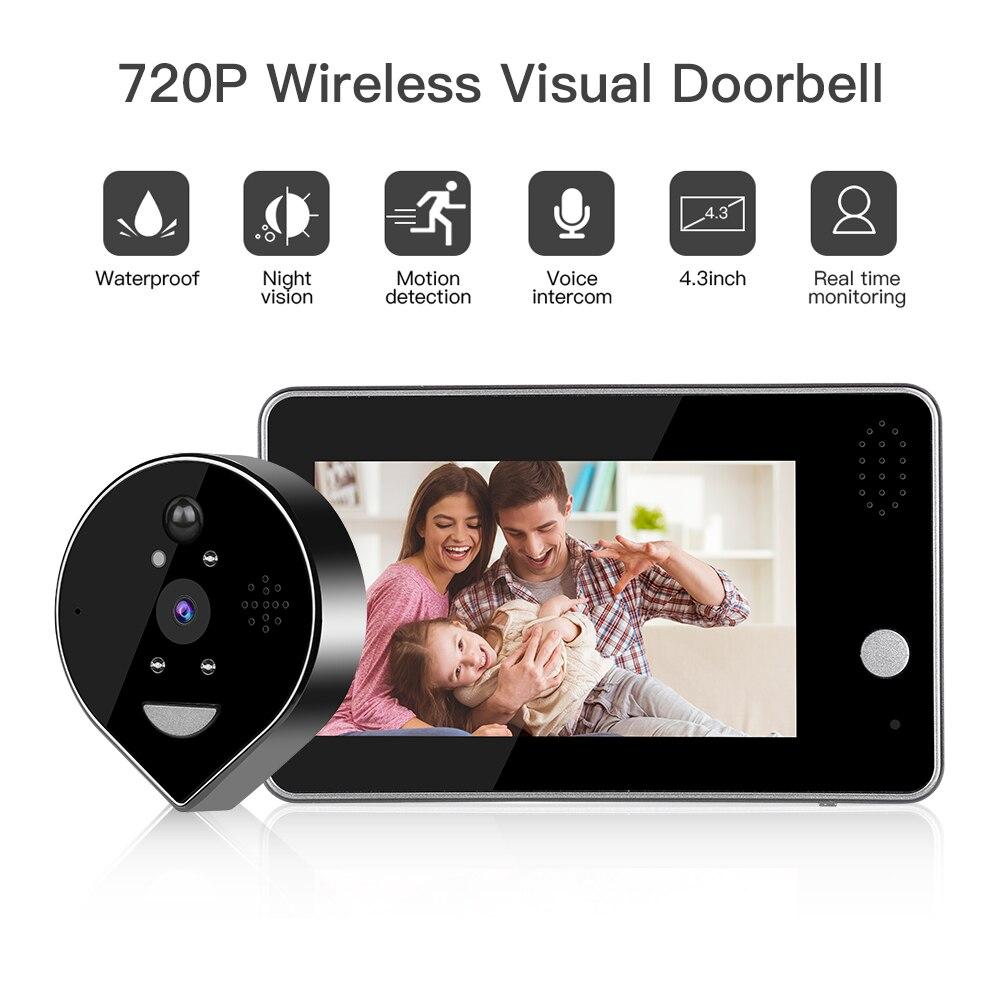 Wifi Doorbell Camera Video Peephole Door Intercom 4.3 Inch Motion Detection Wireless Door Viewer Video-eyes Smart Door Bell Ring