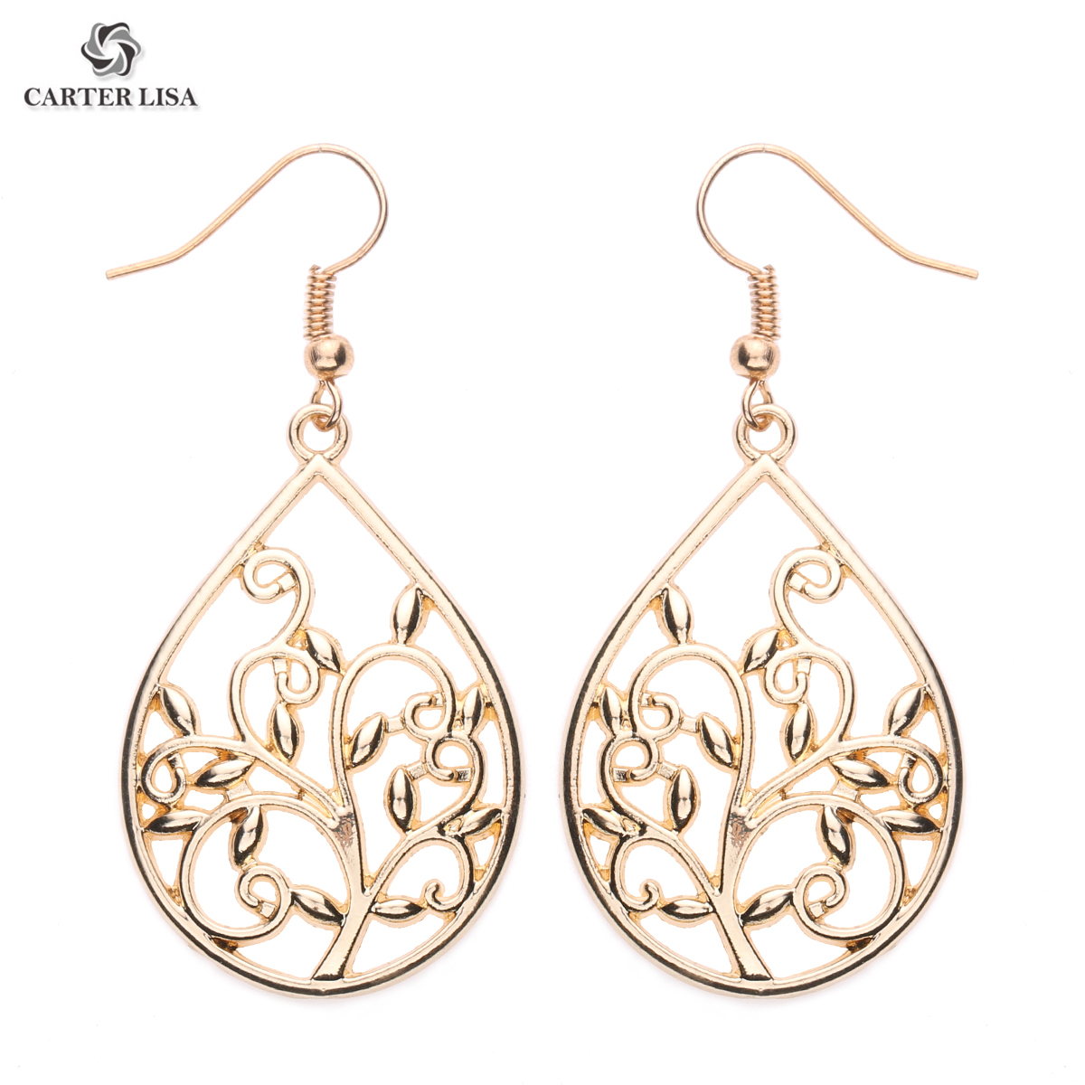 CARTER LISA 2019 New Fashion Earrings Three Of Life Personality Exaggerated Dangle Earrings  Teardrop Ethnic  Earrings HDEA-082