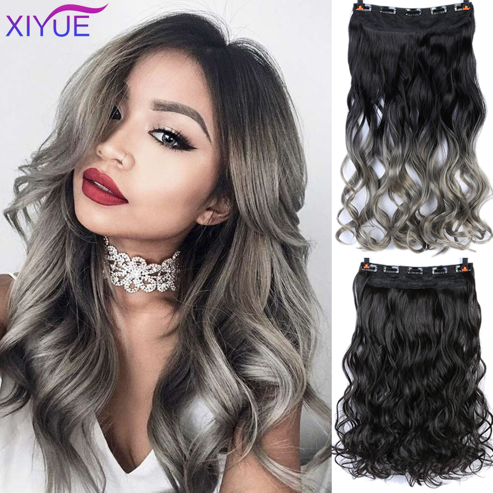 60cm Long Synthetic Hair 5 Clips In Hair Extension Heat Resistant Hairpiece Natural Wavy Hair Pieces Extension