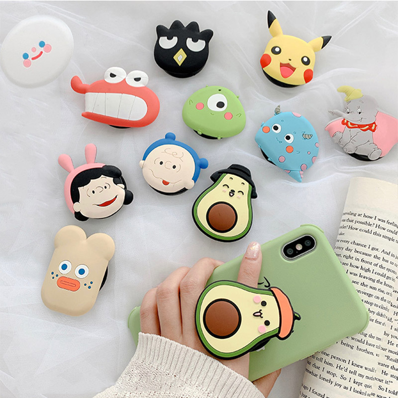 Cute Cartoon Folding Stand For Mobile Phone Holder For IPhone X 8 7 6 Plus IPAD For Samsung For Huawei Phone Case Grip Kichstand