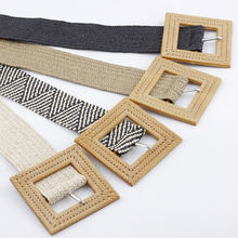 Woman Vintage Braided Belts For Knitted Wax Rope Square Big Pin Buckle Straw Handmade Waist Belt Summer Dress Belt мужской ремень braided belt pin hhm 021