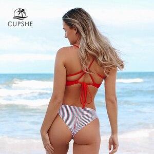 Image 2 - CUPSHE rouge blanc et bleu Bikini à bretelles ensembles femmes Sexy croix et cravate dos string deux pièces maillots de bain 2020 plage maillots de bain