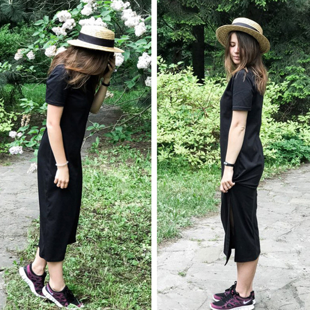 casual long dress with knee slit 6