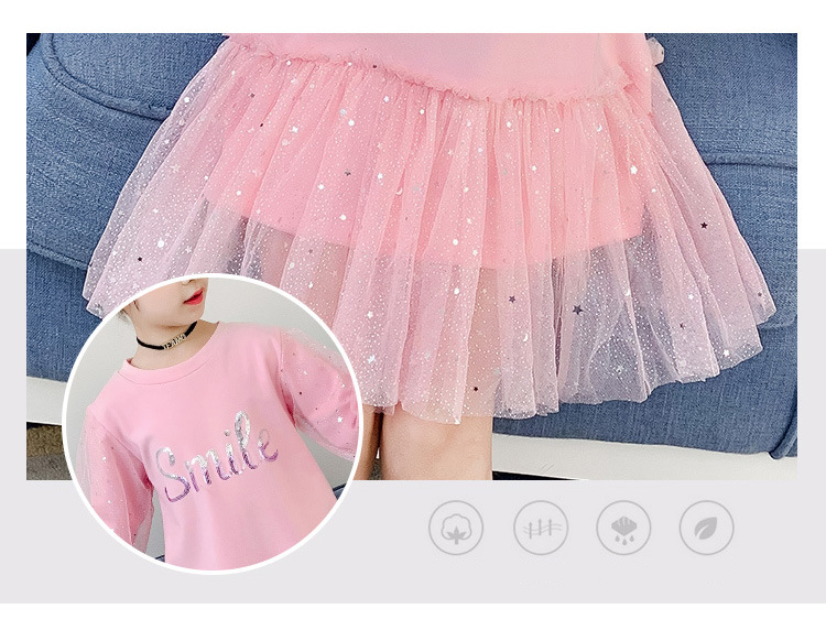 Boutique Kid Clothing 2020 Spring Little Girls School Dress Cotton O neck Sweater Dress Pink Long Sleeve Letter Dresses for Teen (3)