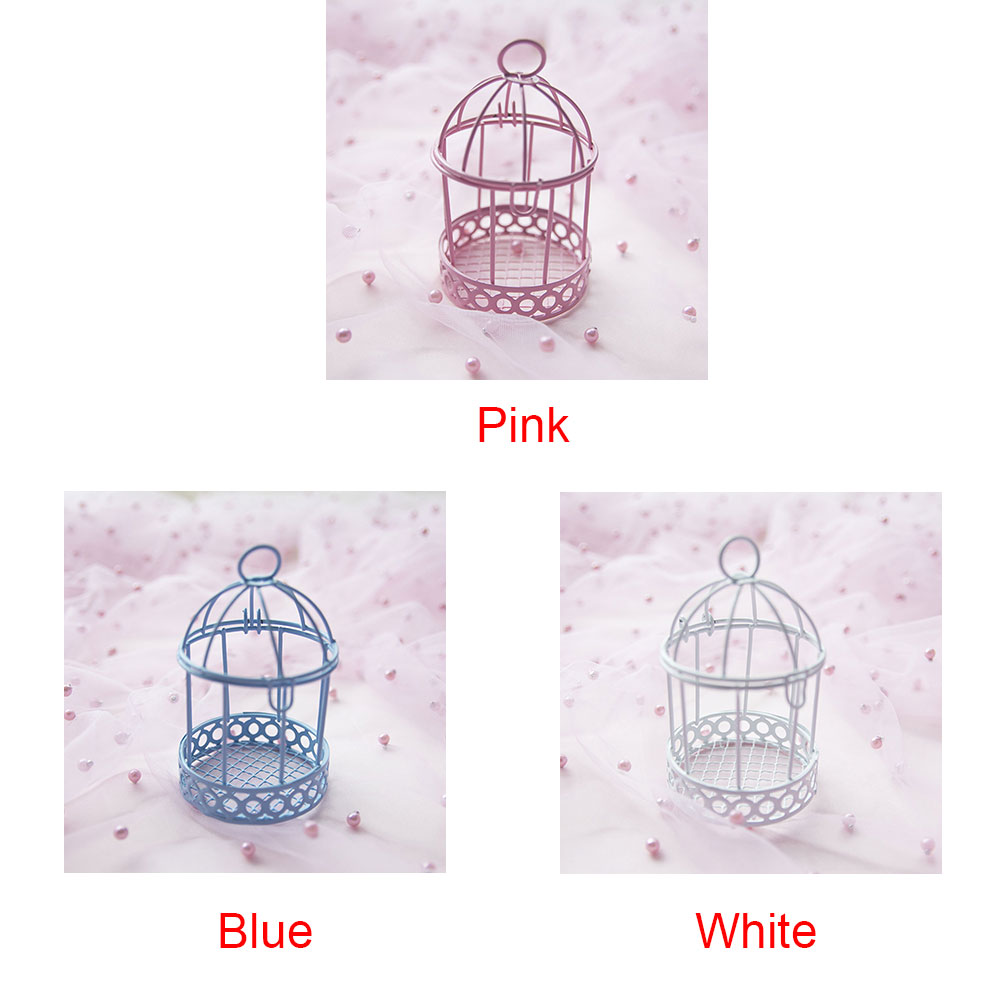 Wedding Party Decorative Mini Candy Box Ornament Gift Storage Case Bird Cage Desktop Practical Home Iron Multicolor